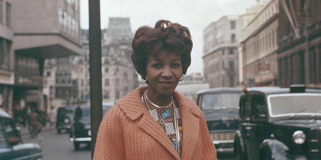 South African writer and journalist, Noni Jabavu (1919-2008) pictured standing on The Strand in London in 1961. (Photo by Rolls Press/Popperfoto via Getty Images/Getty Images)
